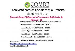 Comde realiza Live de entrevistas com os candidatos a prefeito de Xanxerê