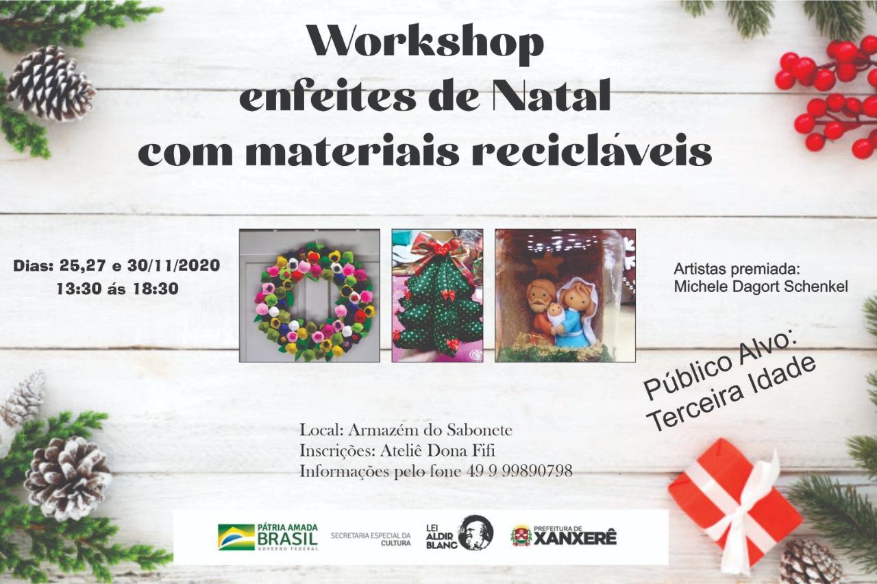 Abertas as inscrições para o Curso de enfeites de Natal com materiais recicláveis para terceira idade