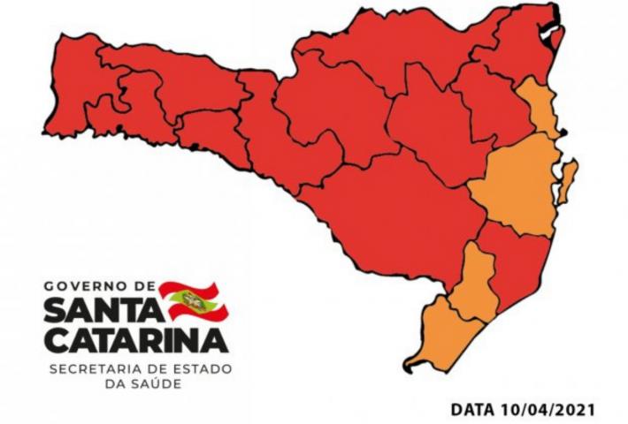 Xanxerê volta ao nível gravíssimo em mapa divulgado pelo Governo do Estado